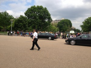 While the students were at the White House, the President of South Korea passed us!