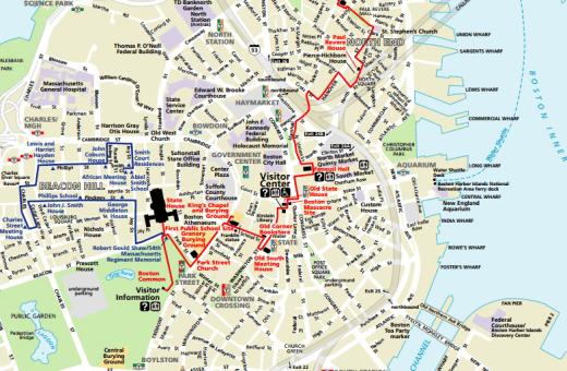 20 Useful Boston Maps For School Trips: Freedom Trail Boston Map At Slyspyder.com