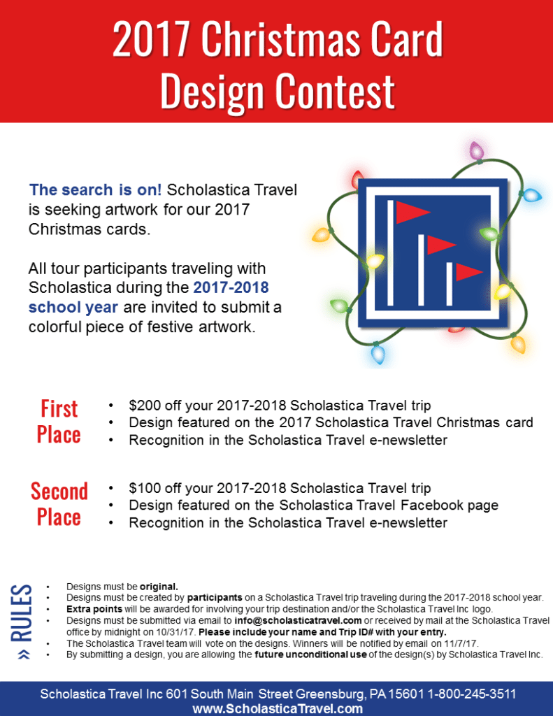 2017 Christmas Card Design Contest: Win $200 Trip Credit!
